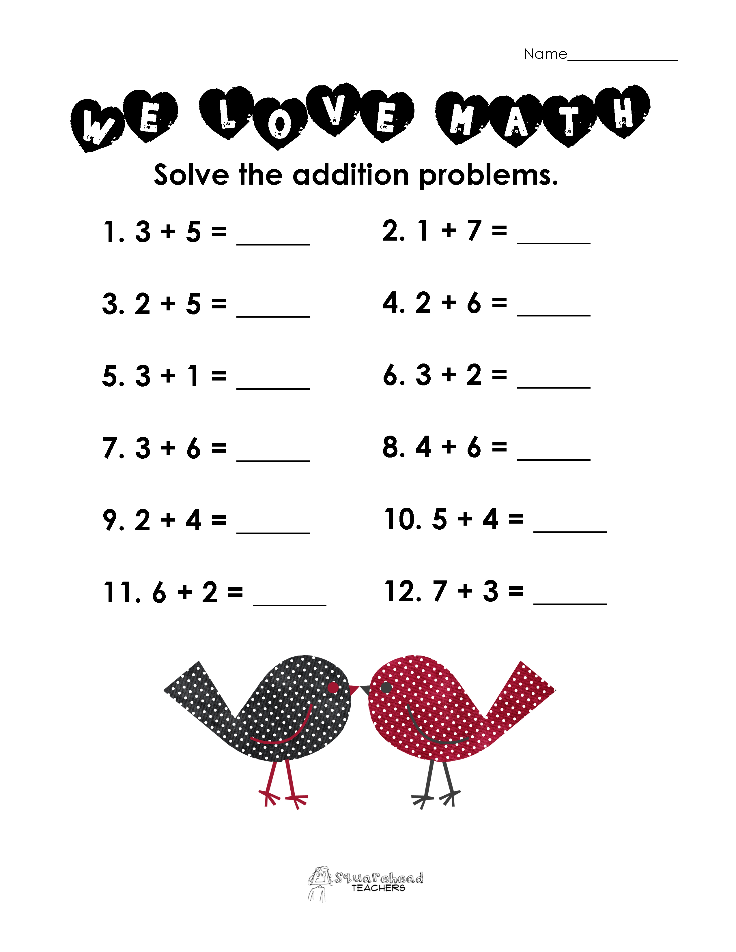 Valentine S Day Math Simple Addition Worksheet