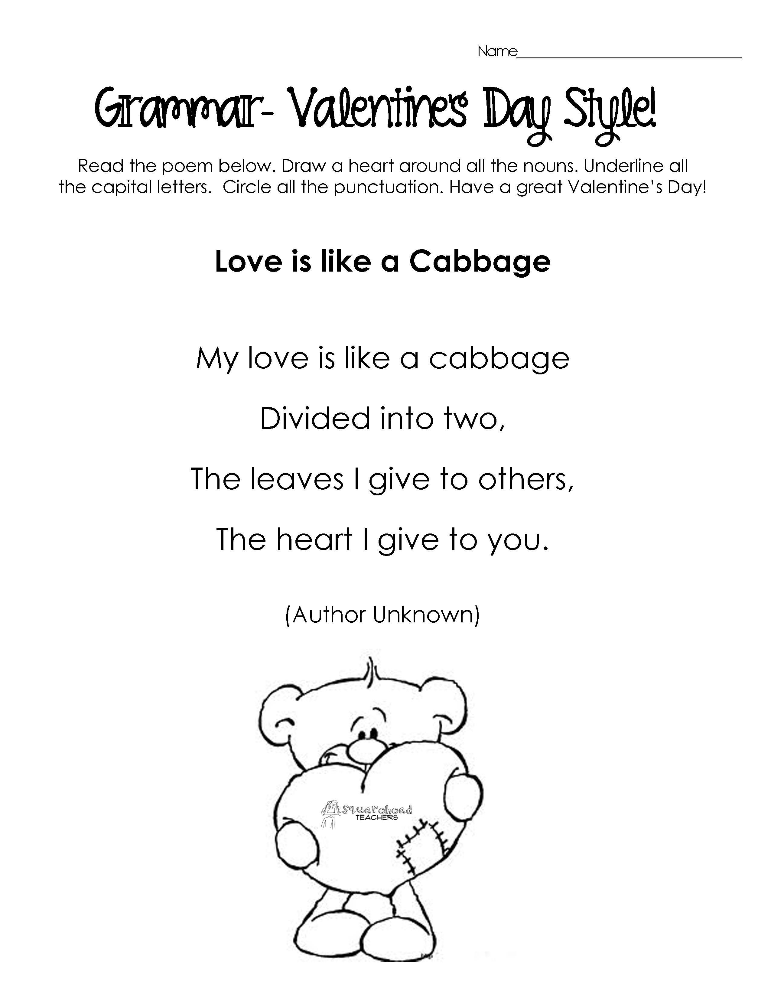 Silly Valentine S Day Poems For Grammar Practice Free Worksheets