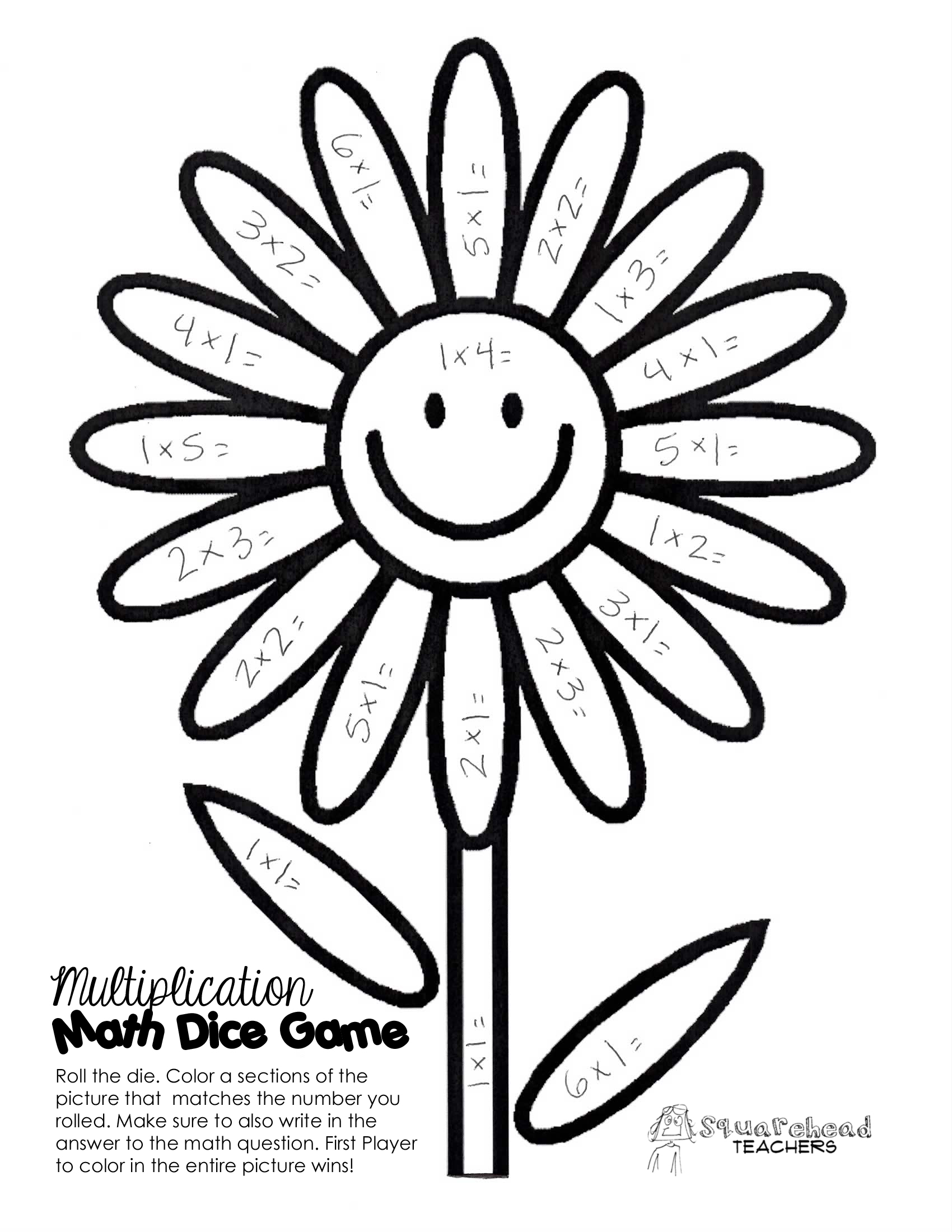 Spring Time Math Facts Dice Game
