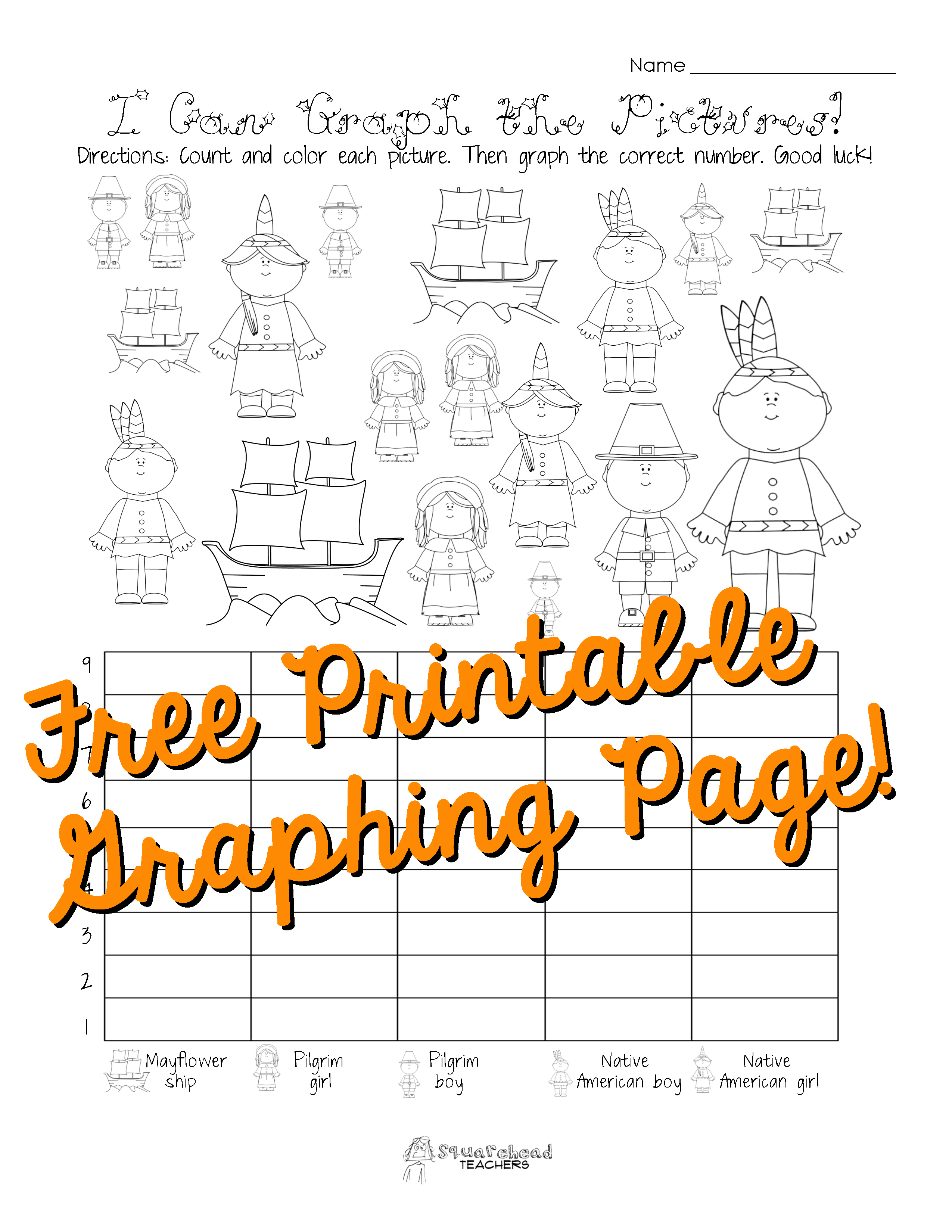 Free Thanksgiving Graphing Worksheet Kindergarten First