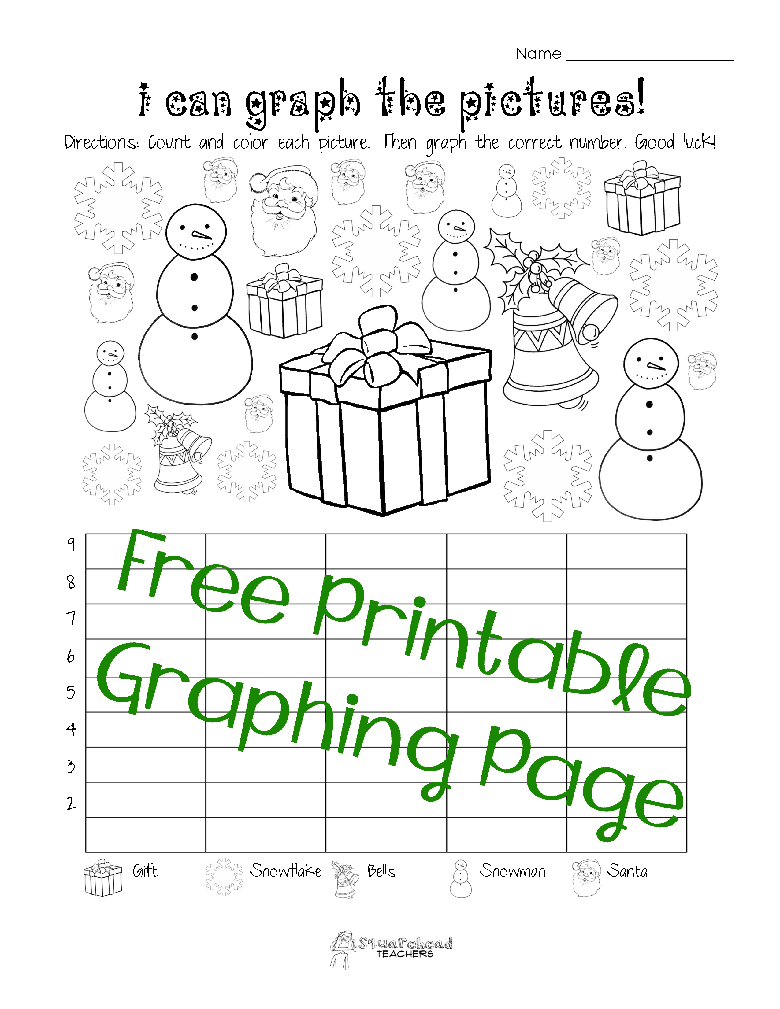 Free Christmas Winter Graphing Worksheet Kindergarten