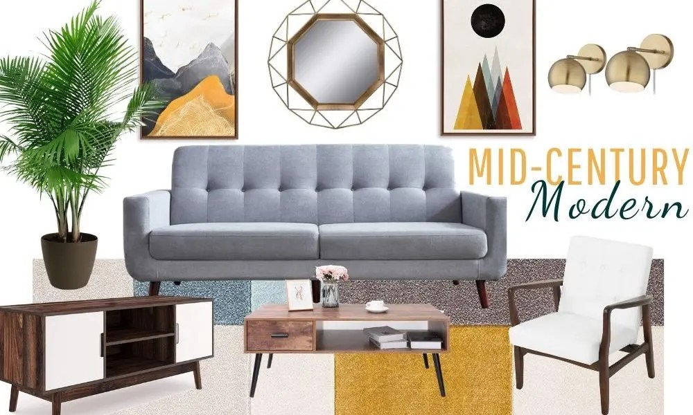 mid century modern living room decor