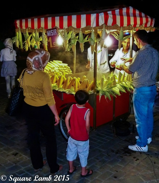 Breaking the Ramadan fast at a sweetcorn stall