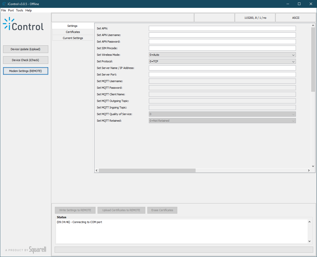 iControl: software suite for Squarell hardware