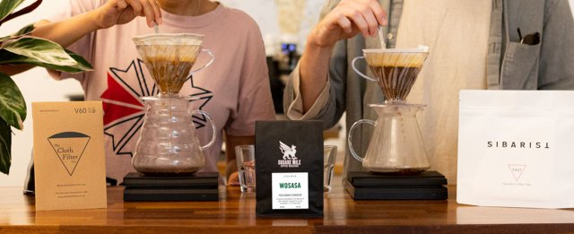 Pouring over Square Mile Wosasa coffee V60 Cloth Fast Filter