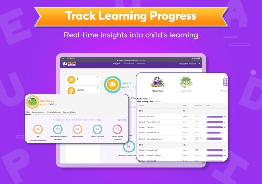 Square Panda's Assessment Portal allows parents and teachers to track young learners' progress in real-time as they learn to read