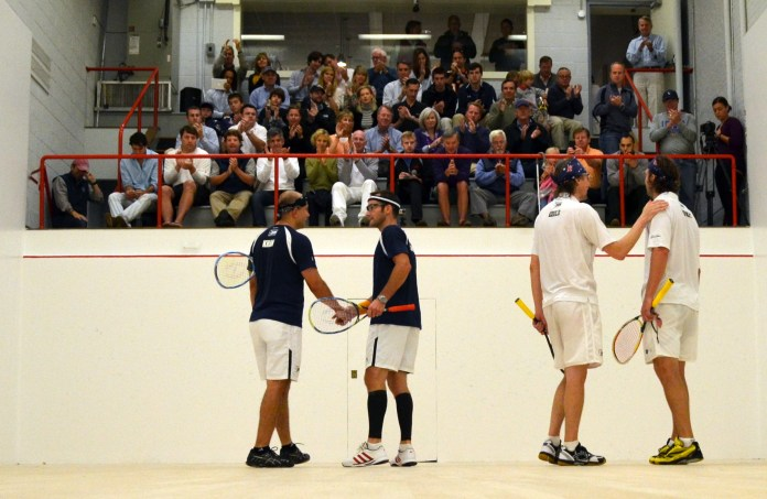 It's all over: handshakes all round as Mudge and Gould take the Maryland title
