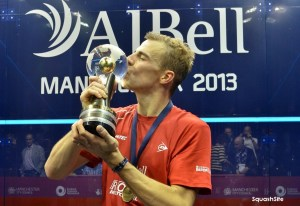 Champion Nick kisses the trophy