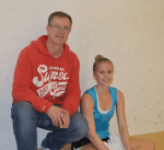Emily Whitlock together with her dad and coach, Phil