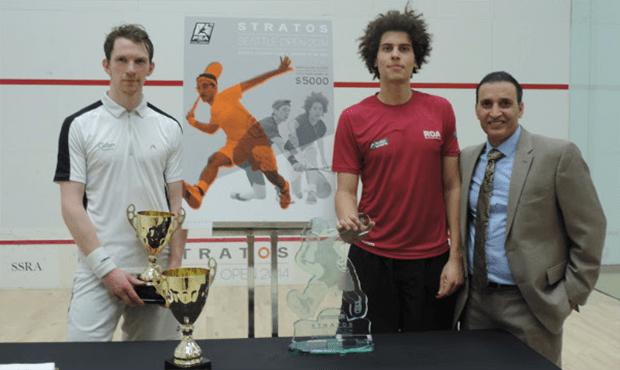 Joel Hinds (centre) pictured with runner-up Arthur Gaskin and tournament promoter Zarak Jahan Khan