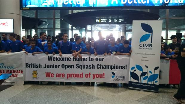 The triumphant Malaysian juniors received a warm welcome when they flew home to KL Airport