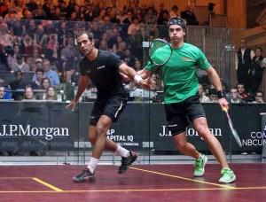 Amr Shabana moves LJ Anjema around the court