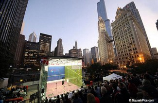 The McWIL court is set up in Chicago for the 2009 US Open