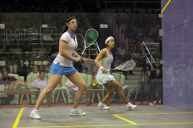 STANDING TALL: Nour El Sherbini powers home in the fifth