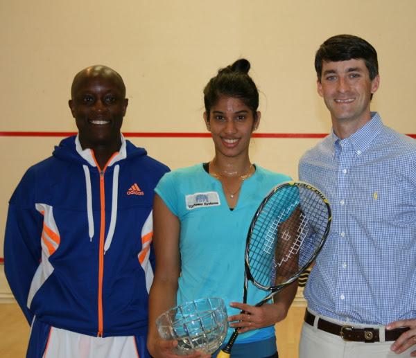 Joshna Chinappa with resident pro Patrick Chifunda and Winston Price (right)