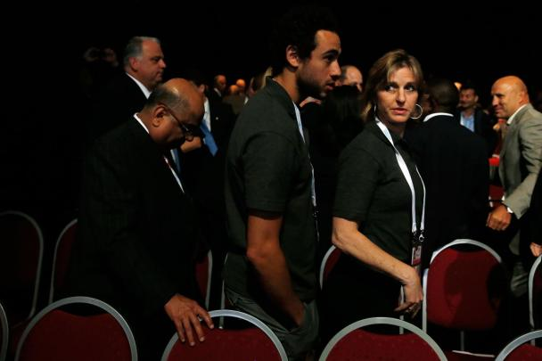 Sarah Fitzgerald and Ramy Ashour hear the news in Buenos Aires that squash has lost the IOC vote again