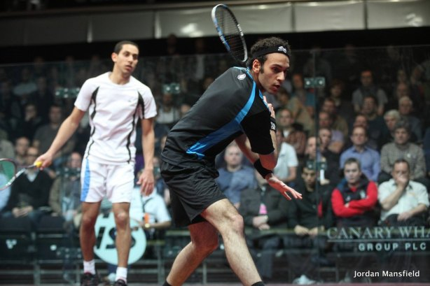 Marwan Elshorbagy in action at Canary Wharf