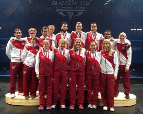 The England squad take to the podium in Glasgow