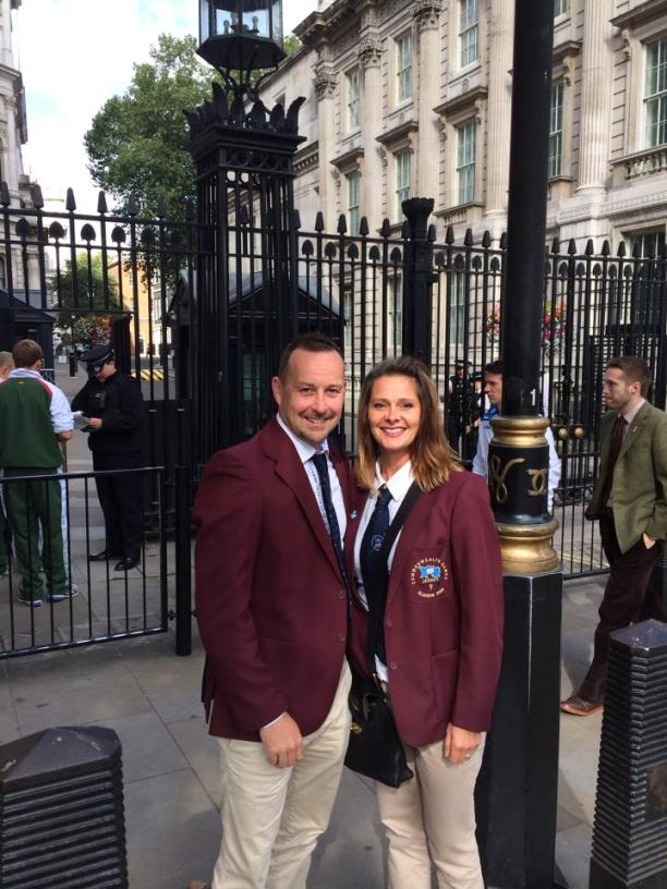 Nick and Sarah Taylor arrive in Downing Street, being photobombed by style guru Harry Leitch