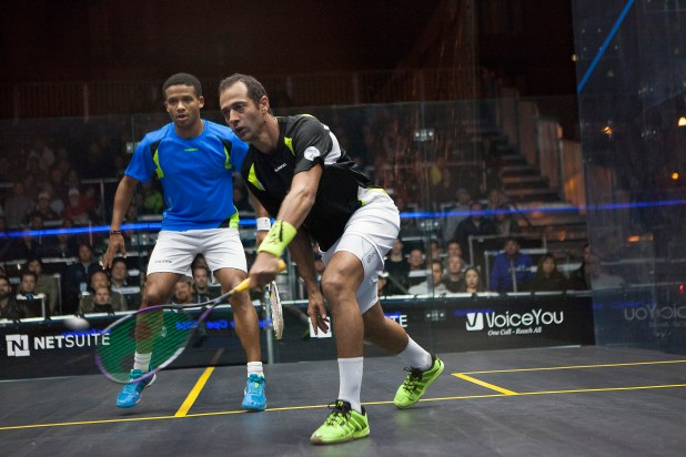 Amr Shabana on the attack against Adrian Grant