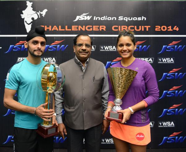 Harinder Pal Sandhu with women's champion Dipika Pallikal
