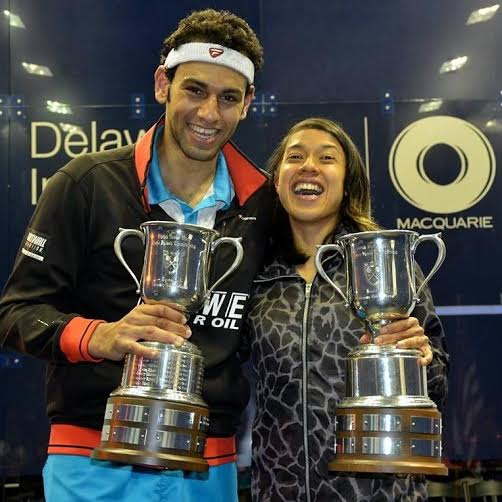 US Open squash champions Mohamed Elshorbagy and Nicol David