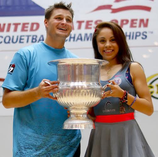 US Open racquetball champions Kane Waselenchuk (Canada) and Paola Longoria (Mexico)