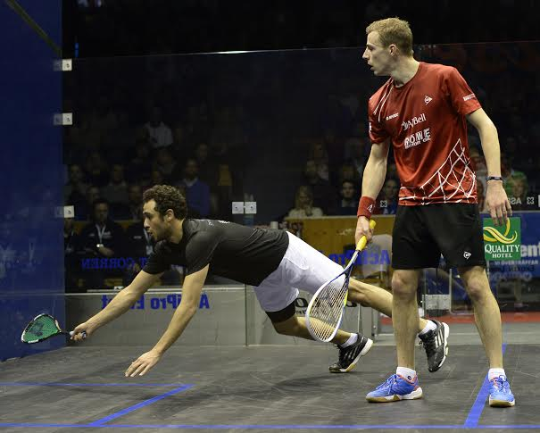 Nick Matthew and Ramy Ashour in action in the Swedish Open
