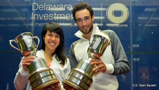 Champions: Nicol David and Ramy Ashour
