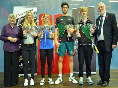 Title winners George and Georgina (centre) in Manchester