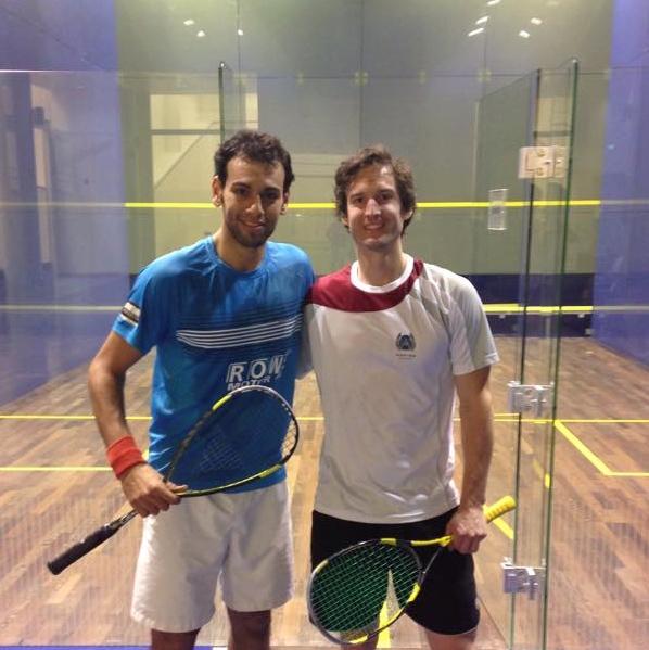 READY: Mohamed Elshorbagy trains in Qatar with Jonathan Kemp