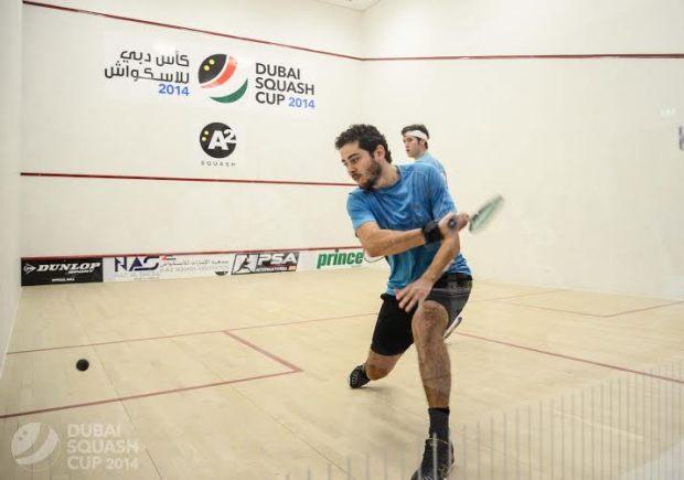 Karim Abdel Gawad gets behind a backhand in the final