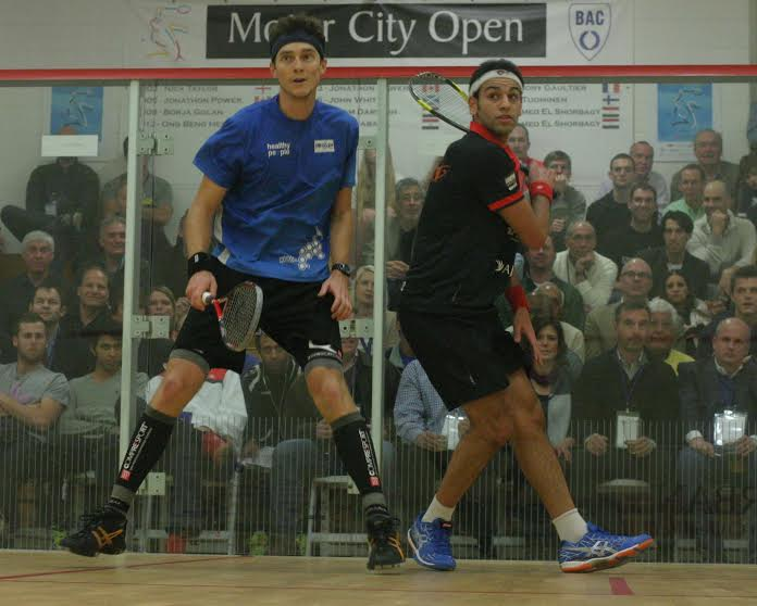Cameron Pilley (blue top) and Mohamed Elshorbagy in action before the world number one retired