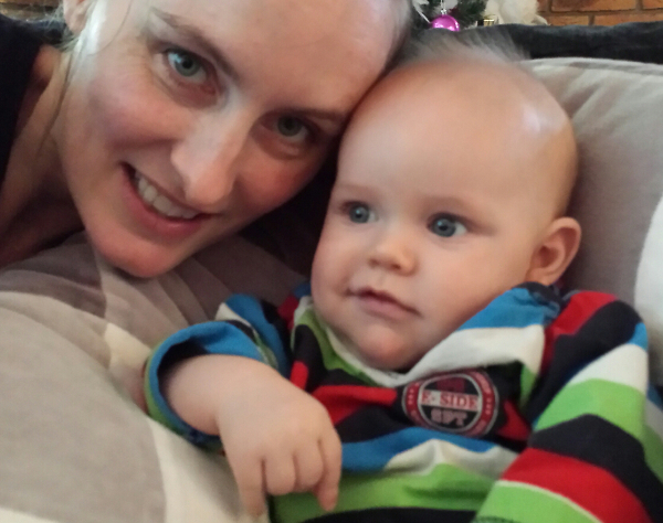 Natalie Grinham and baby son Ryan