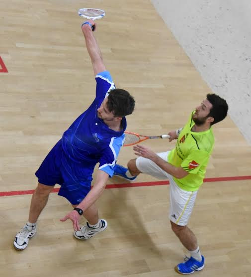Kevin Moran traps Daryl Selby at the back of the court