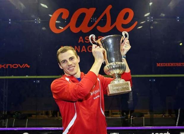 High five: Nick Matthew lifts the Swedish Open trophy again