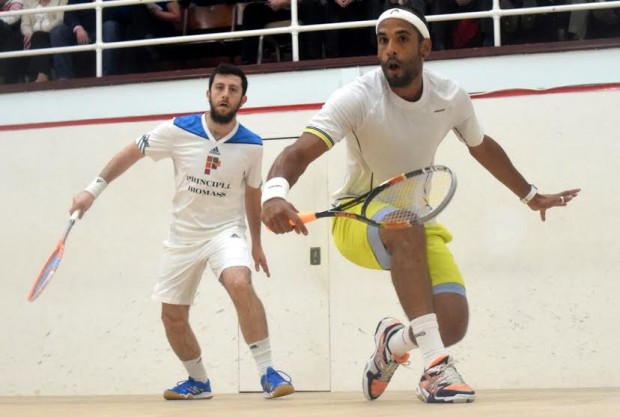 Face-off: Shaun Le Roux (right) takes the battle to Daryl Selby
