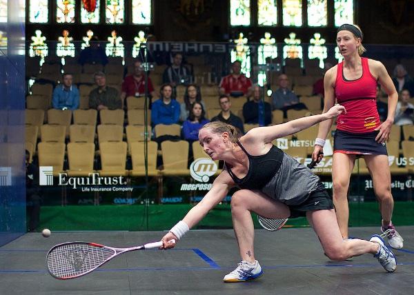 Natalie Grinham at full stretch against Alison Waters