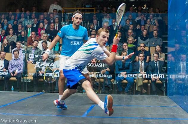 Nick Matthew on the attack against Mohamed Elshorbagy