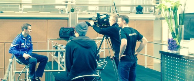 Nick Matthew is interviewed ahead of the Canary Wharf final
