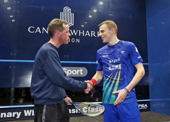 Nick Matthew meets transplant patient Paul Dowdall at Canary Wharf