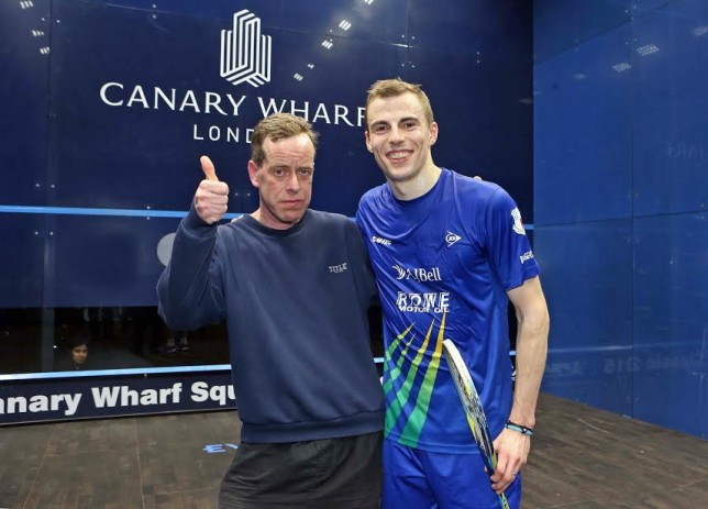"""Thumbs-up from """"Norm"""" as he meets Nick Matthew on court"""