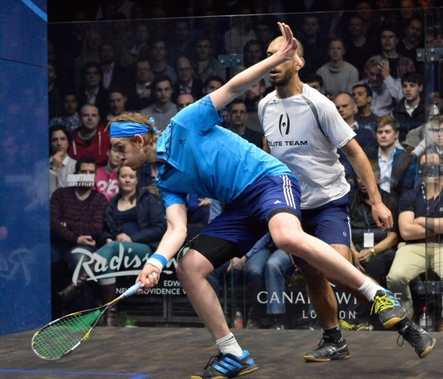 James Wilstrop sways into this forehand shot against Omar Meguid