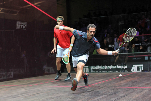 Rhythm and timing: Amr Shabana watches the bounce and sets up his shot
