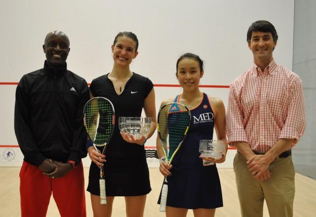 Finalists Sam Cornett and Misaki Kobayashi with Patrick Chifunda (left) and Winston Price