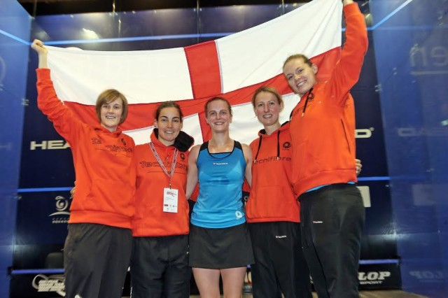 Team England celebrate in Denmark