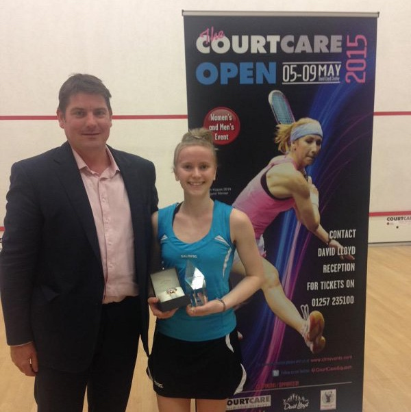Emily Whitlock receives her trophy from Richard Ingle