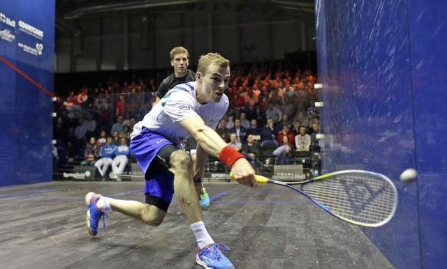 Nick Matthew scrapes one off the side wall against Mathieu Castagnet