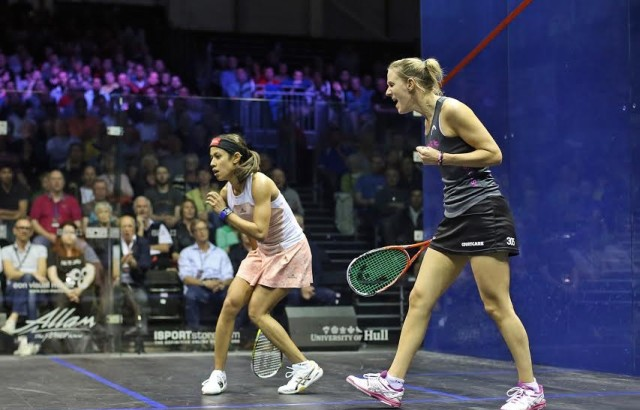 Laura Massaro is overwhelmed after her win over a stunned Nicol David