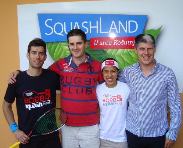 Nicol David and Borja Golan meet Squashland members Cedomir and Ivan